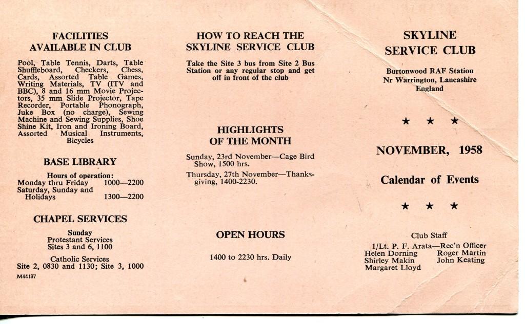 Skyline Club diary November 1958 front