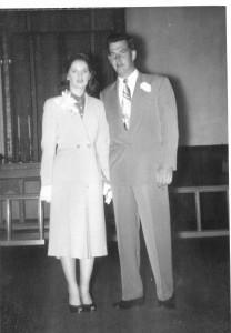 Chapman, Vera & John, wedding St John Episcopal Church, Seattle, 26 May 1954. 1 of 2